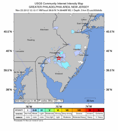 small earthquake loud booms, New Jersey
