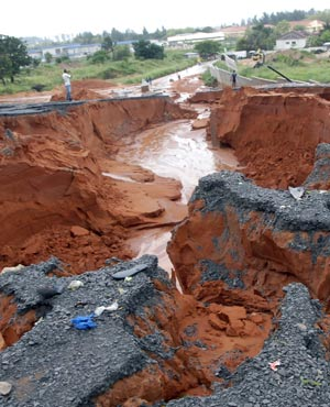 A road washed away by torrential rains in Mozambique