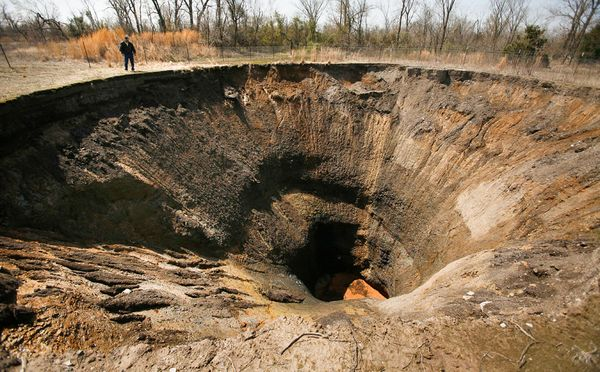 The Picher sinkhole in Oklahoma