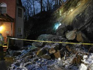 landslide in Brighton Boston