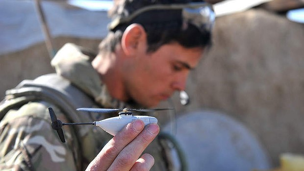 Mini drones used during wars by soldiers