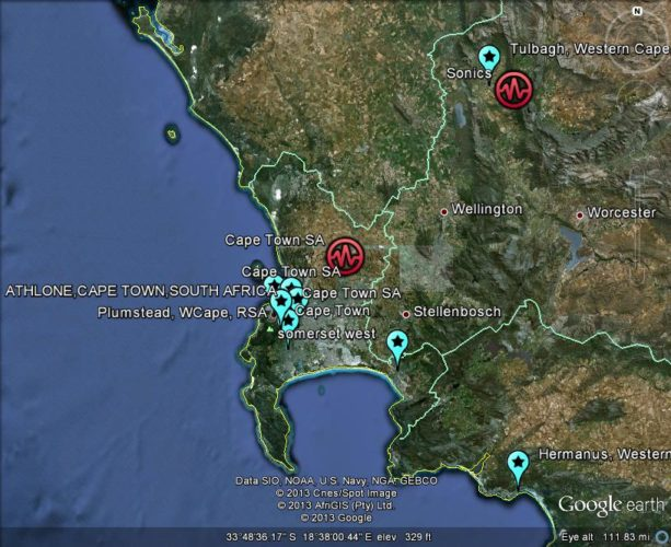 map of meteorite sighting in south africa march 2013