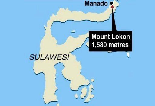 mount lokon indonesia sulawesi map