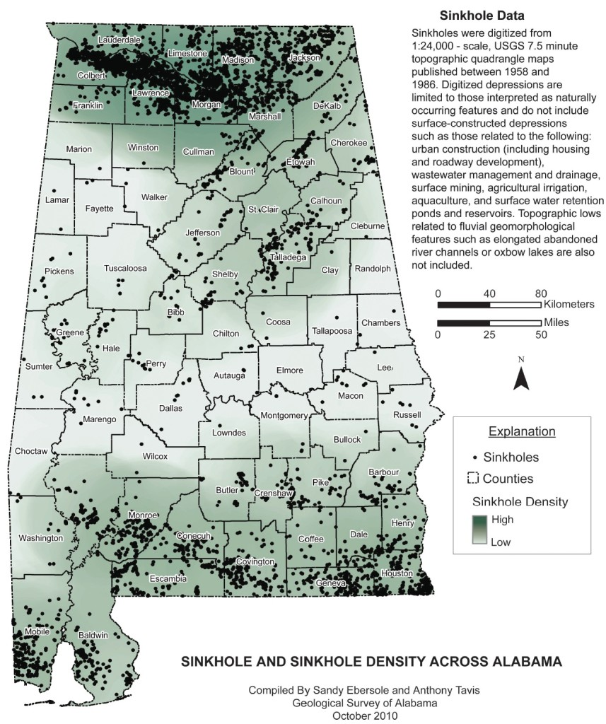 sinkhole alabama, sinkhole alabama map, map sinkhole alabama, sinkhole formation alabama