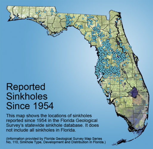sinkhole formation map in florida since 1954