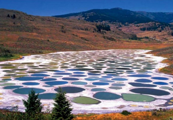 spotted lake evaporite lake with different colors