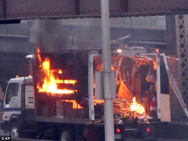 truck explosion manhattan bridge april 2013