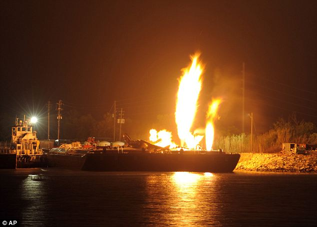 Flammable: The barges used to hold compressed natural gas but was empty at the time