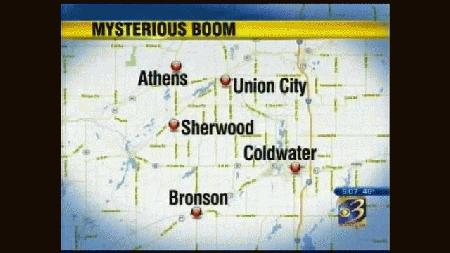 series of mysterious booms in Branch Couty michigan april 2013