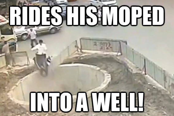 He rides his scooter into a sinkhole