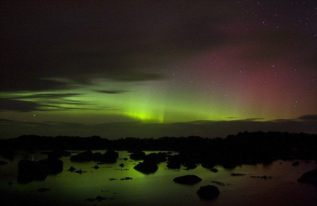 The Northern Lights in Donegal in Ireland
