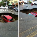 sinkhole swallows car in China may 16 2013