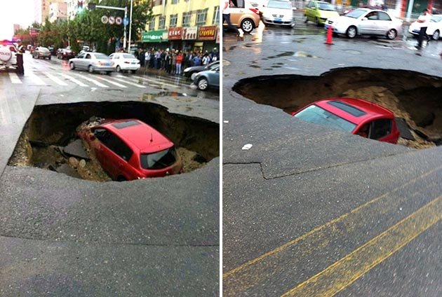 sinkhole swallows car in China may 16 2013, sinkhole swallows car in China may 16 2013, sinkhole, sinkhole formation, cave-in, sinkhole formation china 2013, sinkhole formation china may 2013, sinkhole around the world may 2013, large sinkhole formation china, china sinkhole, china road collapse, car swallowed by sinkhole in china may 2013