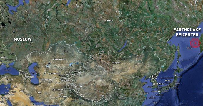 earthquake, large earthquake, 8.2 earthquake russia, massive earthquake sakhalin region may 24 2013, massive earthquake kamchatka may 24 2013, 8.2 earthquake sakhalin region may 2013 related with eruption of volcano on Kuril islands, map earthquake Okhotsk sea may 24 2013