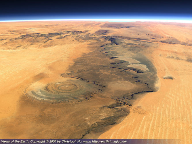 the eye of the sahara is situated in oudane mauritania