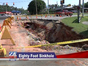 sinhole news may 2013: sinkhole formation in anniston alabama may 2013