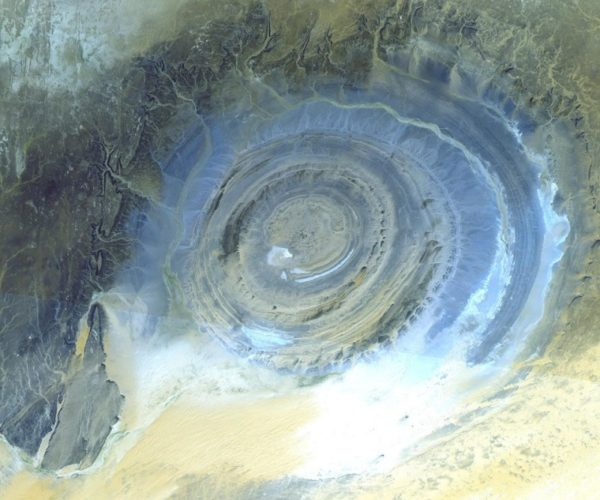 aerial photo of richat structure, aerial picture of the eye of the sahara