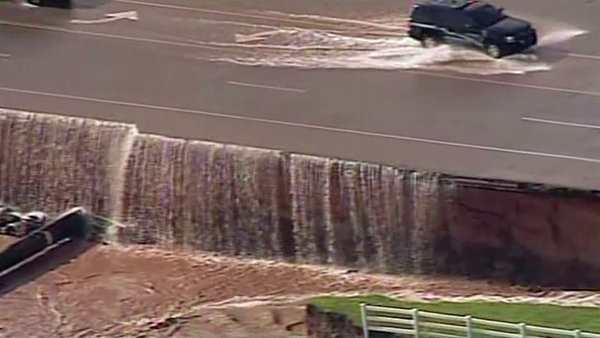A massive sinkhole opened up in Oklahoma County, Oklahoma on June 1, 2013 following overnight storms that triggered flooding