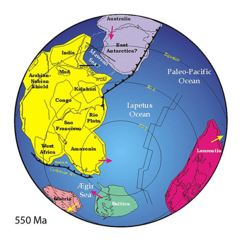 pannotia, earth evolution, earth history, plate techtonics, Pannotia: Positions of ancient continents 550 million years ago
