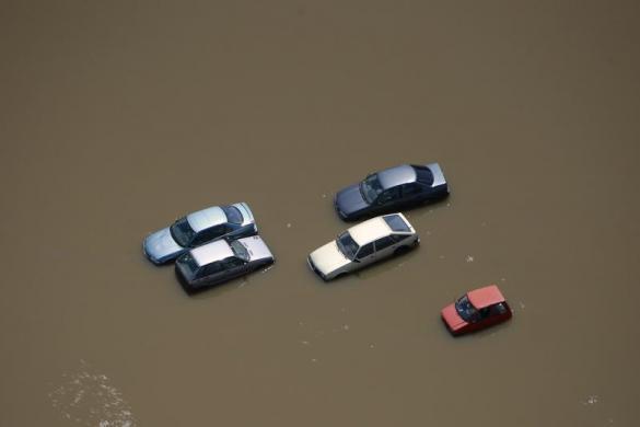 floods magdeburg germany aerial photo