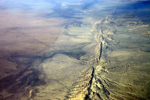 Aerial photo of the San Andreas Fault in the Carrizo Plain, northwest of Los Angeles. Credit: Wikipedia