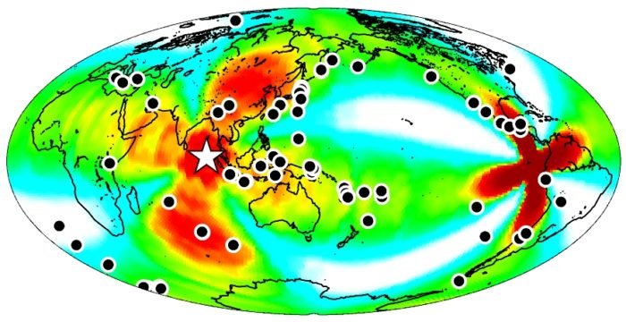 indian ocean afterquake april 2012 map, A map of the earthquakes triggered around the globe (shown as black dots) within a week of the April 11, 2012 earthquake off the coast of Sumatra (shown as a white star). CREDIT: Fred Pollitz, USGS