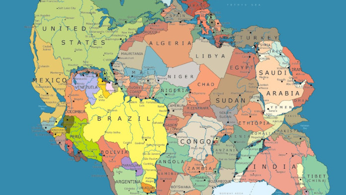 Pangea map, map of pangea with geopolitical boarders, geopolitics on pangea