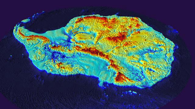 Topographic topographic color-schemed Bedmap2 image