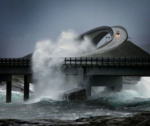 atlantic ocean road during a storm