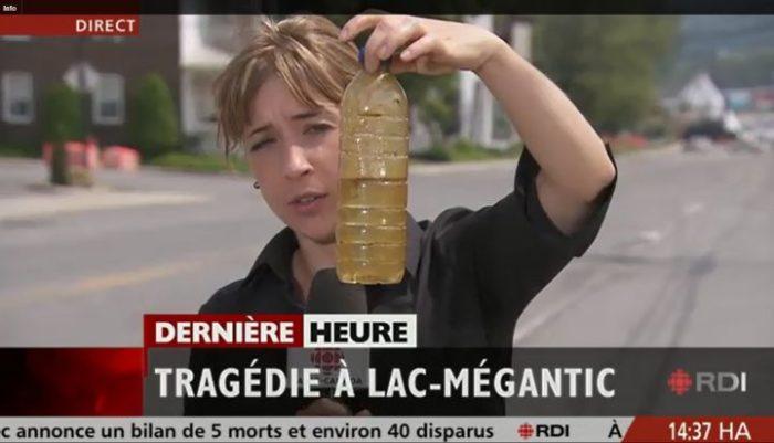 water pollution after explosion of train at lac lac megantic in Quebec, eau polluee après explosion du train rempli d'huile crue (crude oil) lac megantic