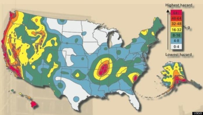 in usa, fault lines and earthquake hazard in usa, the major earthquake