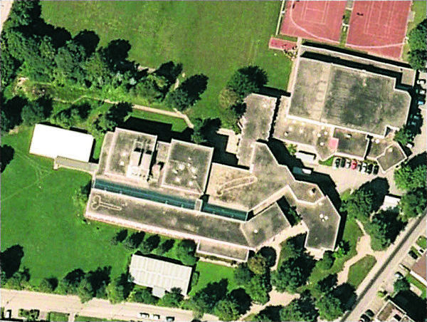 two big penises drawn on roof of a highschool in Heerbrugg switzerland google maps, google maps aerial photo of penises on school roof in Switzerland, aerial photograph of penis on roof of swiss school, photo aérienne de pénis sur le toit d'une école en Suisse