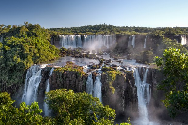 The panoramic views of the Iguazú National Park, terraced waterfalls at Iguazú National Park