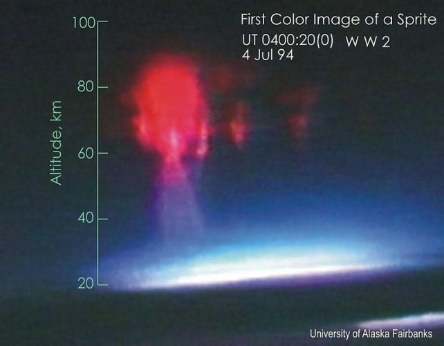 first color image of a red sprite, sprite, sprites, strange phenomenon: sprites, sprites are strange electrical phenomena that occur in the upper atmosphere, Sprites are large-scale electrical discharges that occur high above thunderstorm clouds, rare sprites video, rare sprites photo, best sprite photo, best sprite video, strange earth phenomenon, weird phenomenon in the sky, strange weather phenomenon, strange weather phenomenon on earth, strange phenomenon on earth, Sprites appear as luminous reddish-orange flashes, sprites have an orange color, red sprites video, red sprites photo,