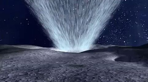 Moon water geyser and lunar water volcano