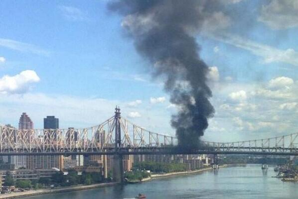 Fire and truck explosion on Queensboro Bridge sends massive smoke cloud over East River august 2013