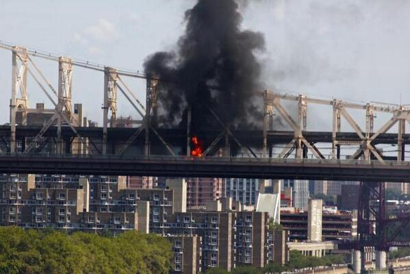truck explosion on Queensboro bridge in Manhattan New York Truck fire on Queensboro Bridge. There was no explosion. No injuries have been reported.