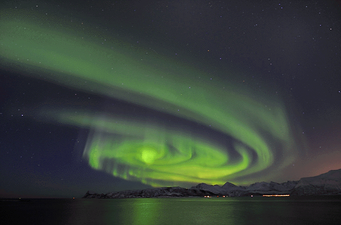 northern lights sky spiral norway