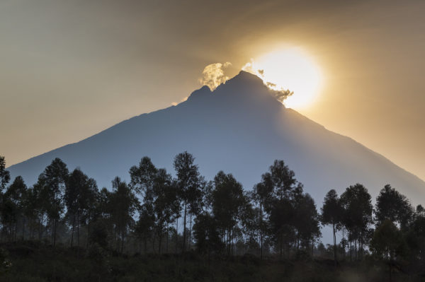 virunda national park threatened by oil companies: Sunrise behind Mount Mikeno, Virunga National Park, Democratic Republic of Congo, Africa