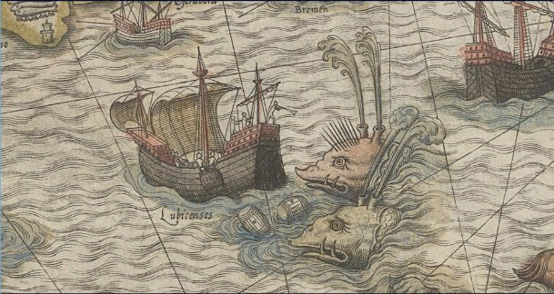 Sea monsters from medieval maps: terrifying whales, whale attack, medieval drawings of whales, medieval whales, map of sea monsters: whales, Strange Sea monsters on medieval maps: whales