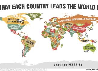 Strange Map Showing What Each Country Leads The World In, What Each Country Leads The World In map, map of What Each Country Leads The World In, each country is good at something, This cheeky map shows what each country leads the world in, map of leaders in the world