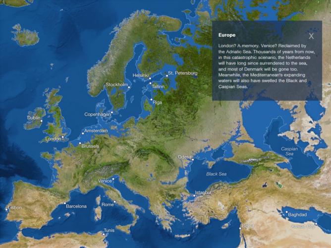 Map of sea level rise: Europe, european cities threatened by sea level rise, map of european cities threatened by sea level rise, map of sea level rise in europe, european map of sea level rise, sea ice melting map: europe, cities in europe threatened by sea level rise map, rising sea, rising sea map, rising sea map of europe