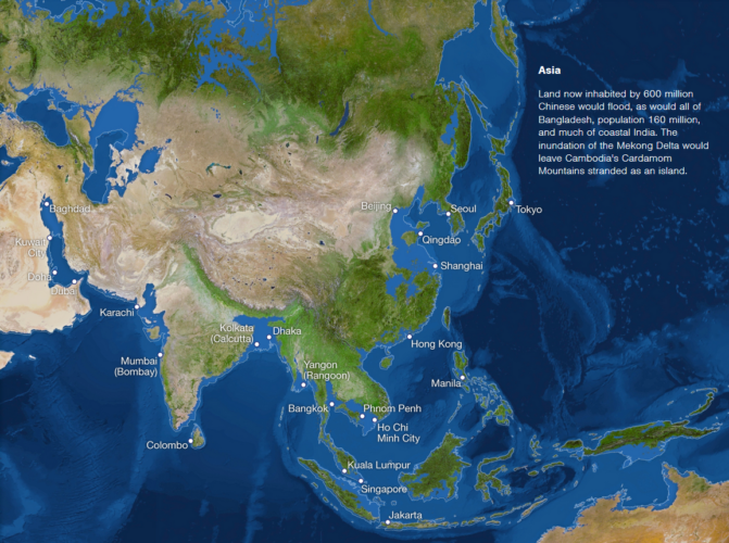 Map of sea level rise: Asia, Asian cities threatened by sea level rise, map of Asian cities threatened by sea level rise, map of sea level rise in Asia, Asian map of sea level rise, sea ice melting map: Asia, cities in Asia threatened by sea level rise map, rising sea, rising sea Asia, Asia rising sea map, map of rising sea in Asia
