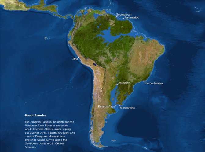 Map of sea level rise: South America, south american cities threatened by sea level rise, map of south american cities threatened by sea level rise, map of sea level rise in South America, South American map of sea level rise, sea ice melting map: South America, cities in South America threatened by sea level rise map, rising sea, rising sea South America, South America rising sea map, map of rising sea in South America