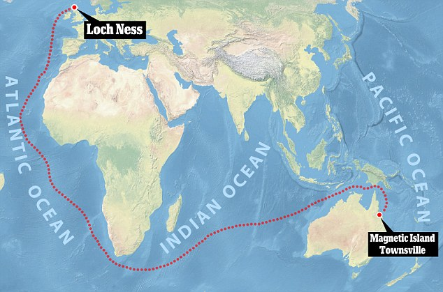 Map of Loch Ness monster migration, Nessie migration path, Nessie: from Scotland to Australia map, map of Nessie migration from Loch Ness to Magnetic island in Australia, Migration path of Nessie from Loch Ness to Magnetic Island Townsvill in Australia