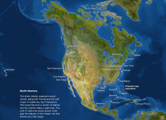 map of sea level rise: north america, sea level rise: USA map, sea level rise: Canada map, sea level rise: North America map, Maps of sea level rise: North America, sea level rise: northe america, zones submerged by sea level rise in north america, map showing parts of north america threatened by rising water level, rising water level: map of threatened areas, map of threatened areas by sea level rise, sea level rise geographic map