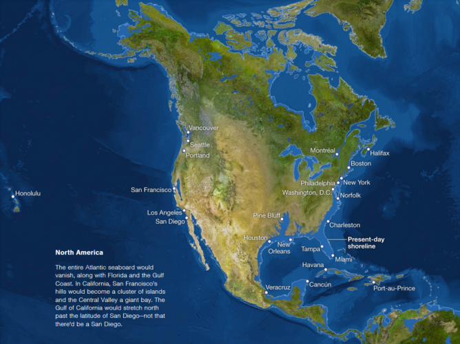Map of sea level rise: North America (USA and Canada), map of sea level rise: north america, sea level rise: USA map, sea level rise: Canada map, sea level rise: North America map, Maps of sea level rise: North America, sea level rise: northe america, zones submerged by sea level rise in north america, map showing parts of north america threatened by rising water level, rising water level: map of threatened areas, map of threatened areas by sea level rise, sea level rise geographic map