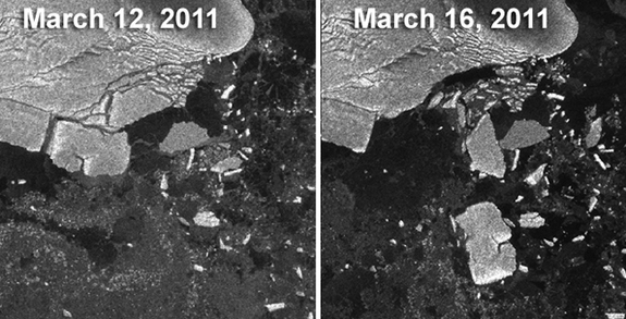 Strangest effects of 2011 Japan's Earthquake: Break up of Antarctic icebergs, The Japan earthquake broke up large icebergs in Antarctica