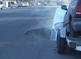 Sinkhole Swallows a Car in Bakersfield