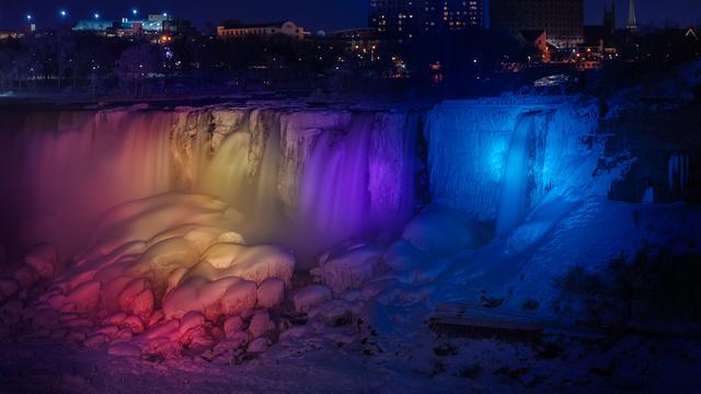 Multicolor and frozen American Falls, Niagara Falls, ON, Canada, frozen Niagara Falls, multicolor niagara falls, rainbow ice at niagara falls, rainbow niagara falls, January 2014 frozen and rainbow niagara falls